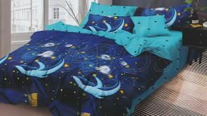 Lenjerie pat 2 persoane 60% BUMBAC - 4 piese - Albastru, model balene pe fundal de cer cu stele