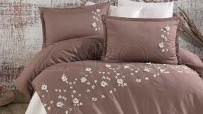 Lenjerie pat 2 persoane SATIN BRODAT - 6 piese - Bej, model flori de camp brodate
