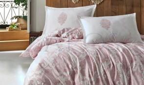 Lenjerie pat 2 persoane BUMBAC RANFORCE - 4 piese - Alb, model cu impletituri roz