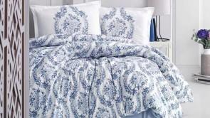 Lenjerie pat 2 persoane BUMBAC RANFORCE - 4 piese -  Bleu, model 2 fete coronite din flori