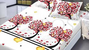 Set husa de protectie cu elastic pentru saltea FINET si 2 fete de perna - Alb, model copaci cu inimi rosii si galbene