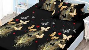 Set husa de protectie cu elastic pentru saltea FINET si 2 fete de perna - Negru, model pene si fluturi galbeni