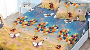 Set husa de protectie cu elastic pentru saltea FINET si 2 fete de perna - Albastru, model baloane multicolore si fluturi albi