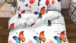 Lenjerie pat 2 persoane 60% BUMBAC - 4 piese - Alb, model fluturi in camp de lalele
