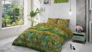 Lenjerie pat 2 persoane BUMBAC - 3 piese - Verde, imprimeu inspirat din jungla-200 x 220