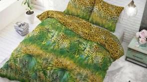 Lenjerie pat 2 persoane 60% BUMBAC - 3 piese - Verde, imprimeu inspirat din jungla-200 x 220