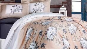 Lenjerie pat 2 persoane BUMBAC SATINAT - 4 piese - Crem, model 2 fete trandafiri albi si buline