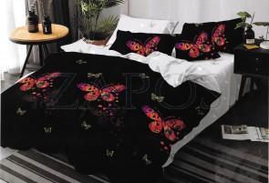 Lenjerie de pat 2 fete BUMBAC FINET - 6 piese - Negru, model fluturi in nuante de roz si model interior alb