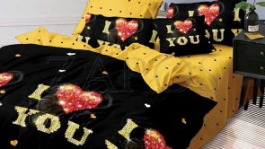 "Lenjerie pat 2 persoane BUMBAC FINET - 6 piese - Negru, model text ""I Love You"" si imprimeu interior galben"