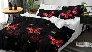 Lenjerie pat 2 persoane BUMBAC FINET - 6 piese - Negru, model fluturi in nuante de roz si model interior alb