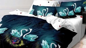 Lenjerie pat 2 persoane BUMBAC FINET - 6 piese - Bleumarin, model lebede si pene de paun
