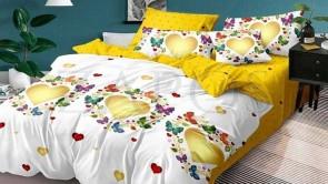 Lenjerie pat 2 persoane BUMBAC FINET - 6 piese - Alb, model inimi inconjurate de fluturi mici si imprimeu interior galben