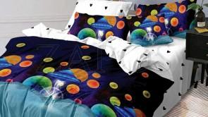 Lenjerie pat 2 persoane BUMBAC FINET - 6 piese - Bleumarin, model planete colorate si imprimeu interior alb