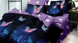 Lenjerie pat 2 persoane BUMBAC FINET - 6 piese - Bleumarin, model frunze luminoase si imprimeu cu fluturi