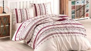 Lenjerie pat 2 persoane BUMBAC RANFORCE - 4 piese - Crem, model cu motive traditionale colorate