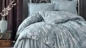 Lenjerie pat 2 persoane BUMBAC RANFORCE - 4 piese - Bleu, model minimalist cu alb