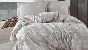 Lenjerie pat 2 persoane BUMBAC RANFORCE - 4 piese - Bej, model minimalist cu alb