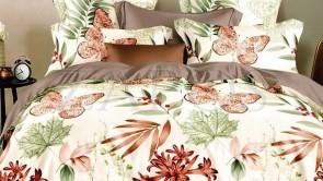 Lenjerie pat 2 persoane 60% BUMBAC - 4 piese - Crem, model frunze si flori tropicale