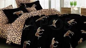 Lenjerie pat 2 persoane 60% BUMBAC - 4 piese - Negru, model 2 fete animal print si pantere