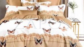 Lenjerie pat 2 persoane BUMBAC FINET - 6 piese - Crem, model fluturi colorati