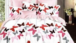 Lenjerie pat 2 persoane BUMBAC FINET - 6 piese - Alb, model fluturi colorati cu rosu si roz