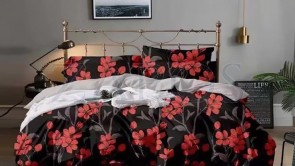 Lenjerie pat 2 persoane BUMBAC FINET - 6 piese - Negru, model flori rosii si tulpini gri