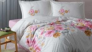 Lenjerie pat 2 persoane BUMBAC RANFORCE - 4 piese - Alb, model floral in culori pastelate
