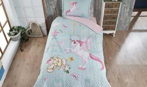 Cuvertura pat 1 persoana BUMBAC RANFORCE - 2 piese - Bleu, model unicorn roz