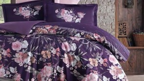 Lenjerie pat 2 persoane BUMBAC SATINAT - 4 piese - Mov, model flori roz cu frunze