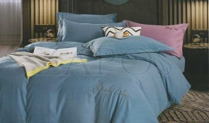 Lenjerie pat 2 persoane BUMBAC SATINAT - 4 piese - Albastru, culoare uni ZAP-1013-93