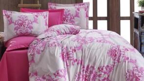 Lenjerie pat 2 persoane BUMBAC RANFORCE - 4 piese - Fucsia, model flori impletite in forma de cercuri mari