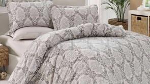 Lenjerie pat 2 persoane BUMBAC RANFORCE - 4 piese - Gri deschis, model flori impletite in forma de cercuri mici