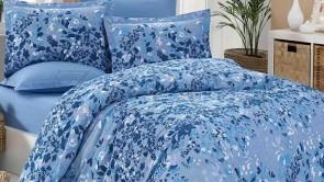 Lenjerie pat 2 persoane BUMBAC RANFORCE - 4 piese - Albastru, model frunze flori si frunze mici