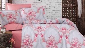 Lenjerie pat 2 persoane BUMBAC RANFORCE - 4 piese - Roz, model flori impletite in forma de cercuri mari