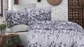 Lenjerie pat 2 persoane BUMBAC RANFORCE - 4 piese - Gri, model frunze negre si albe