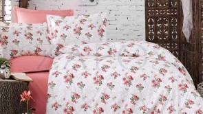 Lenjerie pat 2 persoane BUMBAC RANFORCE - 4 piese - Roz, model buchete de flori pe fundal alb