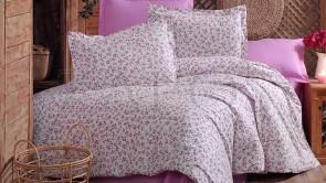 Lenjerie pat 2 persoane BUMBAC RANFORCE - 4 piese - Roz, model flori de camp pe fundal alb