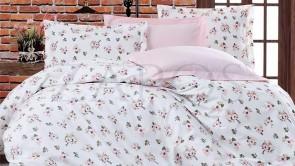 Lenjerie pat 2 persoane BUMBAC RANFORCE - 4 piese - Roz pal, model buchete flori mici