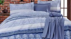 Lenjerie pat 2 persoane BUMBAC RANFORCE - 4 piese - Bleu, model 2 fete finii si ornamente albe