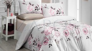 Lenjerie pat 2 persoane BUMBAC RANFORCE - 4 piese - Bej, model trandafiri in nuante de roz