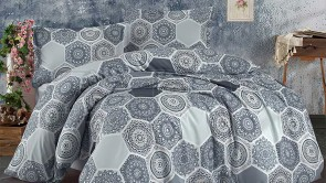 Lenjerie pat 2 persoane BUMBAC RANFORCE - 4 piese - Gri, model abstract cu hexagoane