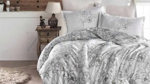 Lenjerie pat 2 persoane BUMBAC SATINAT - 4 piese - Alb, model flori conturate cu negru