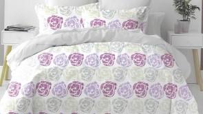 Lenjerie pat 2 persoane 100% BUMBAC - 4 piese - Lila, model trandafiri multicolori ZAP-1004-51209 C4