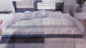 Lenjerie pat 2 persoane 60% BUMBAC - 4 piese - Mov, model blocuri de culoare pe orizontala