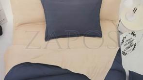 Lenjerie pat 2 persoane FINET - 4 piese - Bleumarin, culoare uni 2 fete