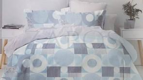 Lenjerie pat 2 persoane 60% BUMBAC - 4 piese - Bleu, imprimeu cercuri si patrate