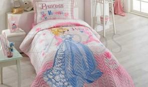 Cuvertura pat 1 persoana BUMBAC RANFORCE - 2 piese - Roz pal, model printesa in rochie albastra