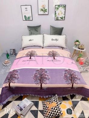 Cuvertura pat dublu CATIFEA PLUSATA - Roz pal, model dungi late colorate si copaci