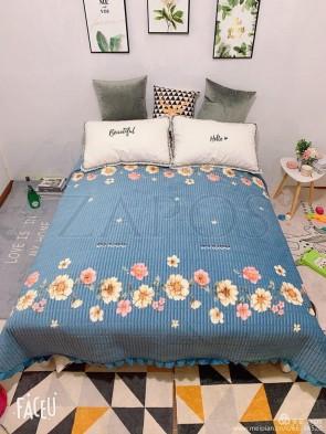 Cuvertura pat dublu CATIFEA PLUSATA - Albastru, model flori pe margini