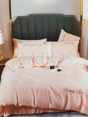 Lenjerie pat 2 persoane BUMBAC SATINAT - 4 piese - Roz pal, culoare uni si text ZAP-1018-40